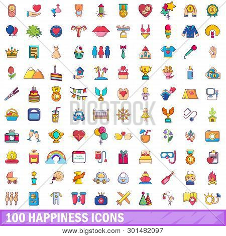 100 Happiness Icons Set. Cartoon Illustration Of 100 Happiness Icons Isolated On White Background