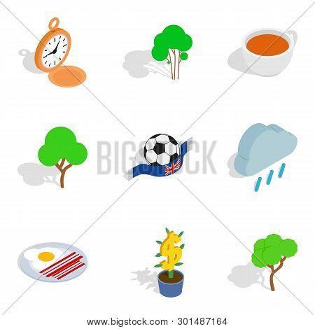English Stereotype Icons Set. Isometric Set Of 9 English Stereotype Icons For Web Isolated On White