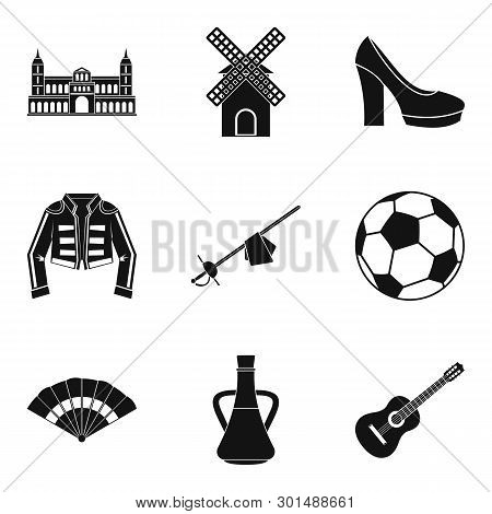 European Icons Set. Simple Set Of 9 European Icons For Web Isolated On White Background