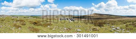 Panorama Of The Granite Bedrock Outcrops At Top Tor, Dartmoor National Park, Devon. To The East Acro