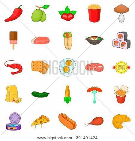Partake Icons Set. Cartoon Set Of 25 Partake Icons For Web Isolated On White Background