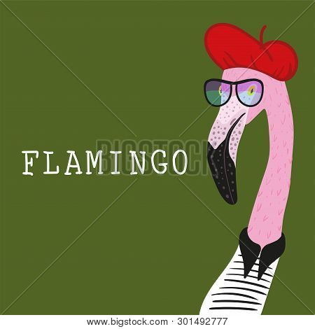 Portrait Of Hipster Flamingo In A Fun Neon Glasses And Red Barret. Fashion Dressed Up Animal Illustr