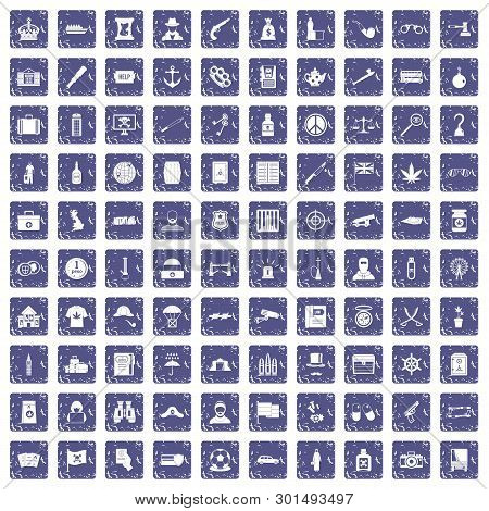 100 Offence Icons Set In Grunge Style Sapphire Color Isolated On White Background Illustration