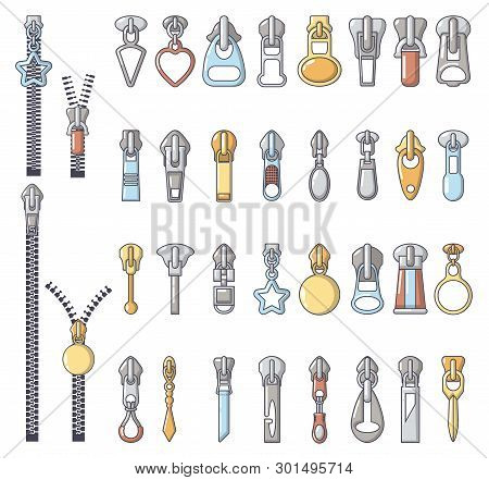 Metal Zipper Puller Icons Set. Cartoon Illustration Of 32 Metal Zipper Puller Icons For Web