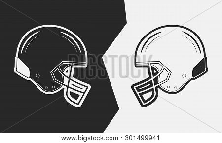 Two American Football Helmets. Black Vs White. Vector Illustration.