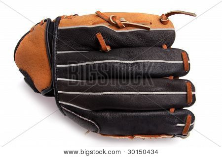 A new baseball in a new leather glove, isolated on a white background.