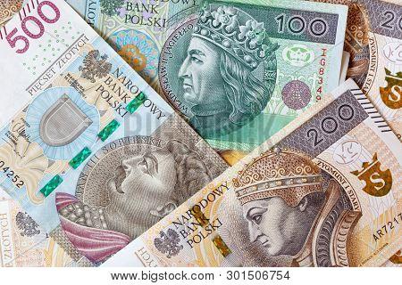 New Polish 100, 200, 500 zloty banknotes close up, macro photo