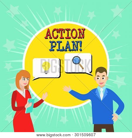 Writing Note Showing Action Plan. Business Photo Showcasing Proposed Strategy Or Course Of Actions F