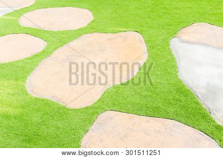 Green Grass, Scenic View Of A Beautiful. Garden Landscape   Design, Garden Decoration For The Backgr