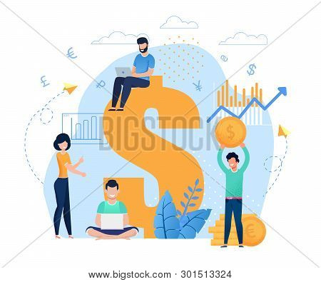 Salespeople And Earnings Online Flat Cartoon Metaphor. Freelancers Or Bloggers Working On Laptop, An