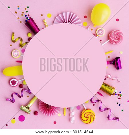 Pink birthday flat lay background with copyspace