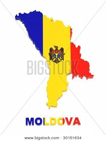Moldova, Map With Flag, Isolated On White, With Clipping Path