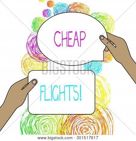 Conceptual Hand Writing Showing Cheap Flights. Business Photo Showcasing Costing Little Money Or Les