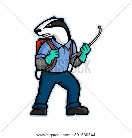 Mascot Icon Illustration Of A Badger Who Is A Pest Control Exterminator Carrying A Pressure Sprayer