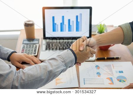 Two Confident Business Man Shaking Hands During A Meeting In The Office, Success, Dealing, Greeting