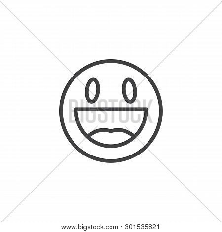 Happy Face Emoji Line Icon. Grinning Face Smiley Linear Style Sign For Mobile Concept And Web Design