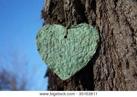 Recycled Paper Heart Hangs from Tree