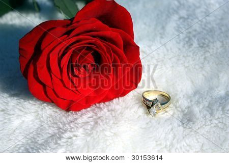 A Red Rose and Diamond Ring Set the Mood