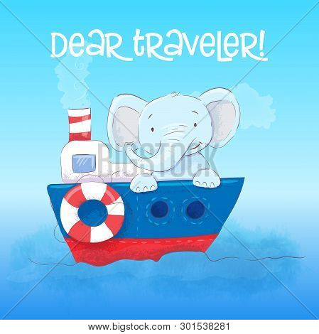 Poster Cute Little Elefant Floats On A Boat. Cartoon Style. Vector