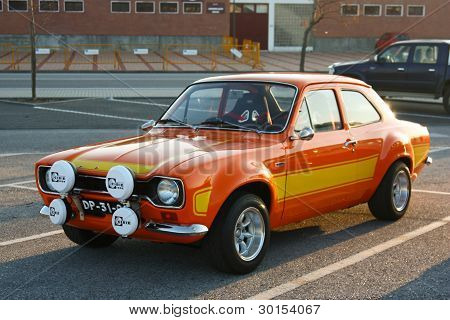 Marinha Grande, Portugal - February 11: A Ford Escort Mki Parked During