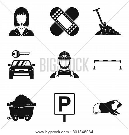 Difficult Work Icons Set. Simple Set Of 9 Difficult Work Icons For Web Isolated On White Background