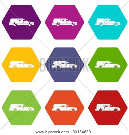 Hearse Icon Set Many Color Hexahedron Isolated On White Illustration