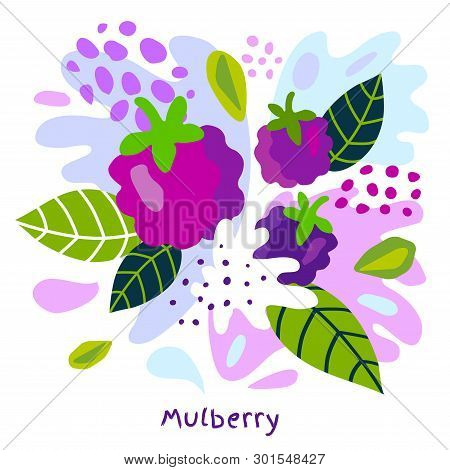 Fresh Mulberry Berry Berries Fruits Juice Splash Organic Food Juicy Mulberries Splatter On Abstract