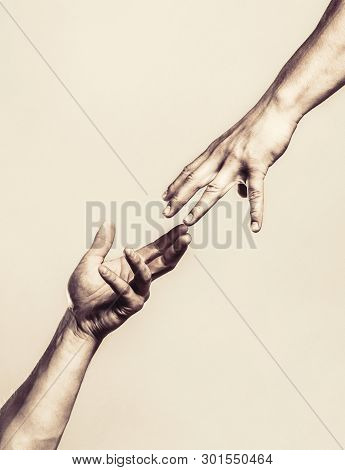 poster of Two hands, helping arm of a friend, teamwork. Helping hand outstretched, isolated arm, salvation. Close up help hand. Helping hand concept and international day of peace, support. Black and white