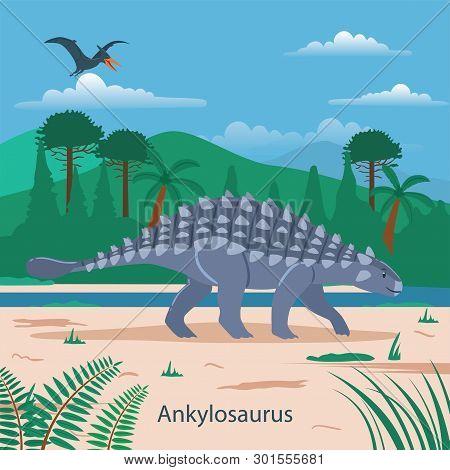 Illustration Of Ankylosaurus. Dinosaur Prehistoric Animal. Extinct Animals
