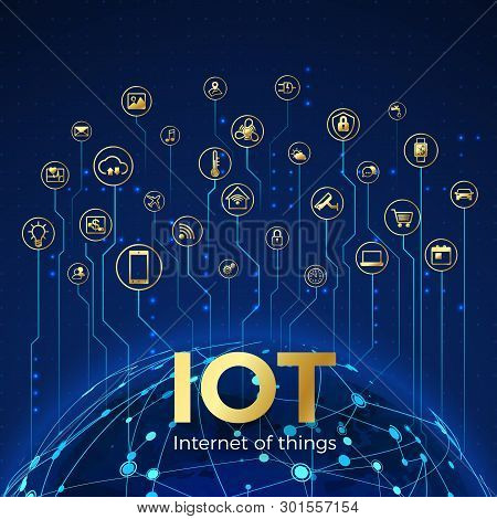 Iot Concept. Internet Of Things. Global Network Connection. Monitoring And Control Smart Systems Ico