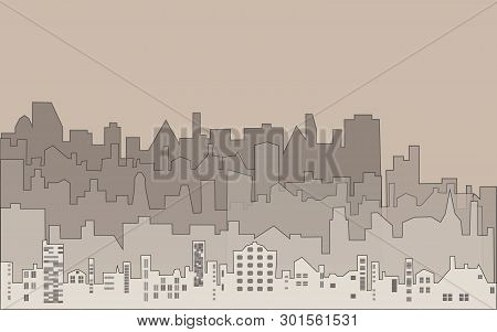 Set Of Silhouette Buildings. Illustration In Sepia