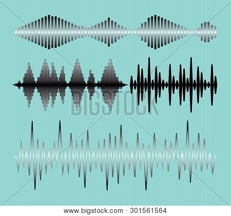 Sound Waves Collection With Audio Symbols On Blue Background Flat Isolated Illustration