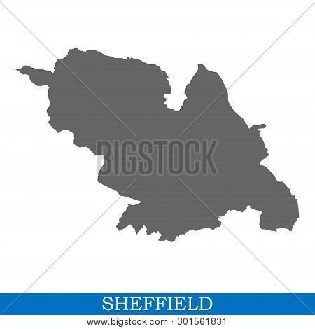 High Quality Map Of Sheffield Is A City In United Kingdom, With Borders Of Districts