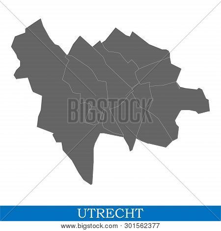 High Quality Map Of Utrecht Is A City Of Netherlands, With Borders Of The Districts