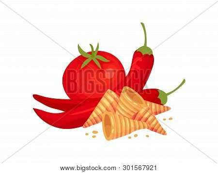 Cone-shaped Croutons Next To Tomatoes And Hot Peppers. Vector Illustration On White Background.