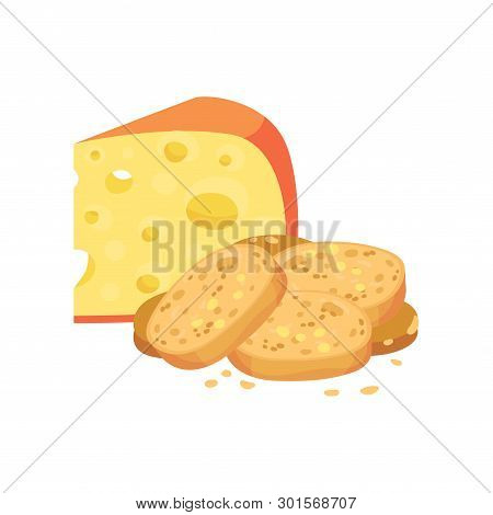 Oval Croutons With A Cheese. Vector Illustration On White Background.