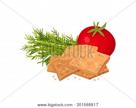 Square Croutons With Tomato And Herbs. Vector Illustration On White Background.