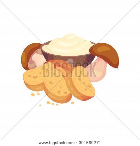 Oval Croutons With Mushrooms And Sour Cream. Vector Illustration On White Background.