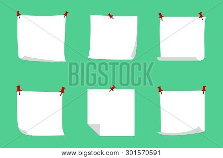 Bulletin Board With Blank Note Papers. Vector Illustration.
