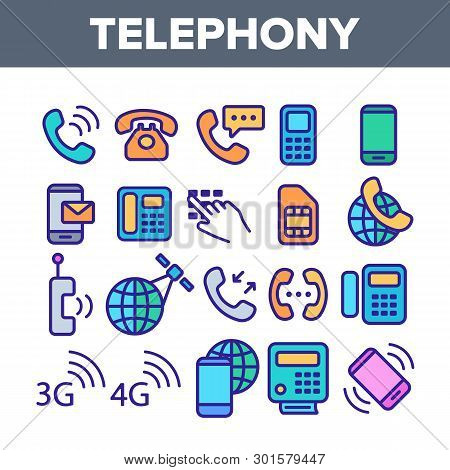 Global Telephony System Linear Vector Icons Set. Telephony, Mobile Technology Thin Line Contour Symb