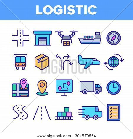 Global Logistic Department Linear Vector Icons Set. Logistic Management, Delivery Service Thin Line