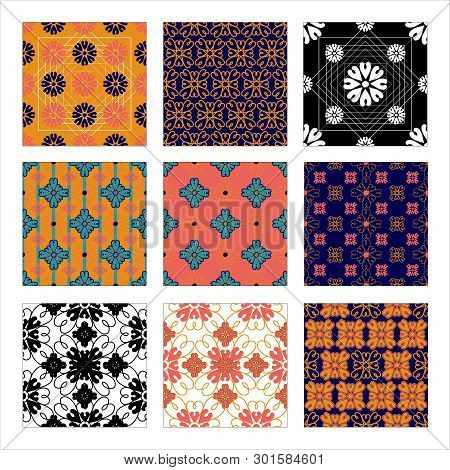 Set Of Moroccan Style Patterns. Hand Drawn Ornaments In Geometric Vector Repeat Pattern Tile In Mode