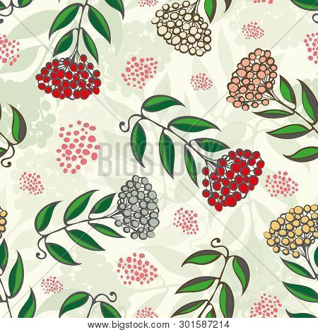 Christmas Rowan Tree Branches With Red, Gold, Silver Berries. Seamless Vector Pattern On Light Green