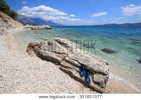 Makarska Riviera. Croatia Landscape - Adriatic Sea Coast. Marusici In Dalmatia.