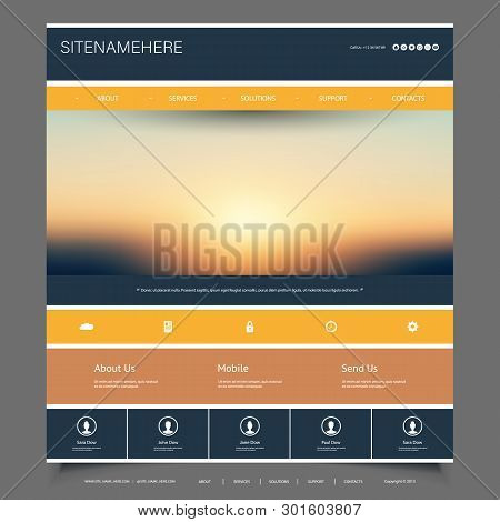Website Design Template For Your Business With Sunset Sky Image Background - Dusk, Clouds, Sun, Sunl