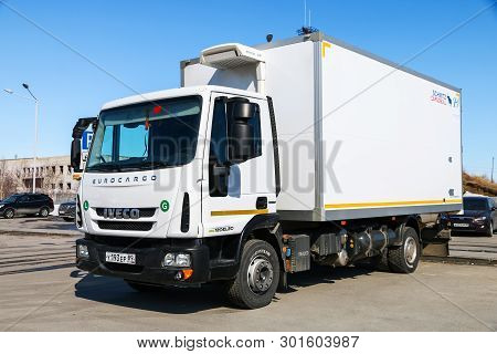 Novyy Urengoy, Russia - May 9, 2019: White Truck Iveco Eurocargo In The City Street.