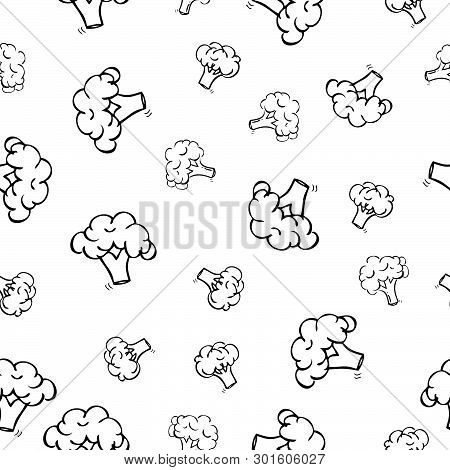 Vector Seamless Pattern Hand Draw Sketch, Three Brocoli For Wrapping Paper, Background, Curtain, Etc