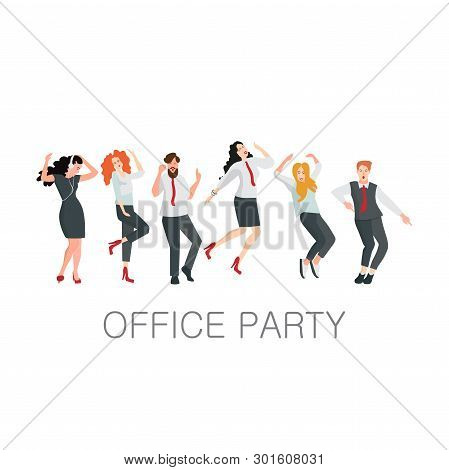 Managers Dance At An Office Party. Corporate Events Or A Holiday In The Office, People In Office Clo