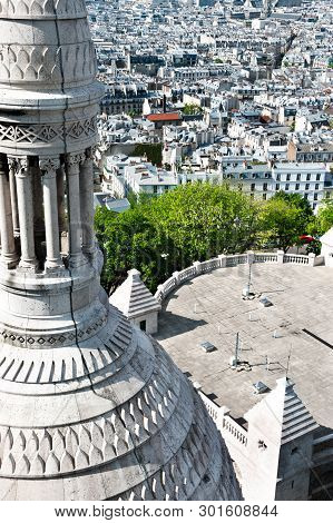 Aerial View Over Paris From Collonade Of Sacre Coeur Basilique