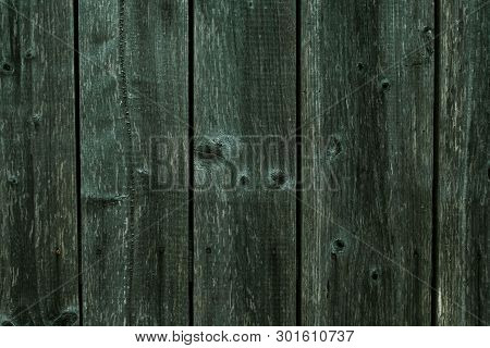 Texture Of Dark Shabby Gray Green Wood. Wood Plank Grey Texture Background. Background Of Shabby Dar